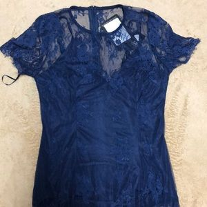 Missguided Navy Blue Midi Lace Dress